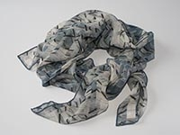 London, Canary Wharf - blue - silk scarf - single georgette/light crepe de chine - square