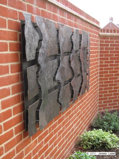 Sculpture-wall hanging in garden-view 3