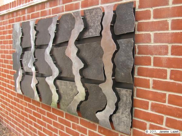 Sculpture-wall hanging in garden-view 4