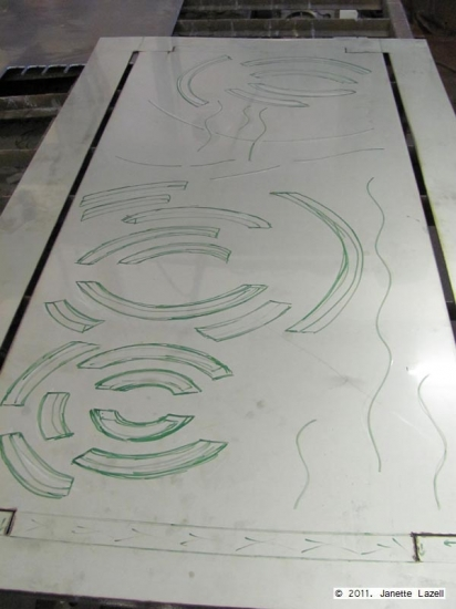 Metal wall hanging planning-water circles-Sandringham Flower Show 2011