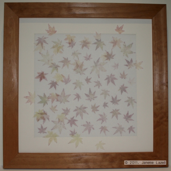 Mixed media-printed leaves - square frame