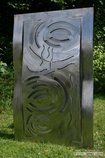 'Rain Circles' Stainless steel wall sculpture for The Sandringham Flower Show 2011 Show Garden