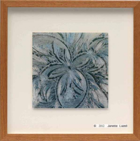 paisley ice flower framed- oak frame, float mounted
