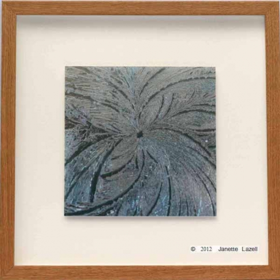 paisley ice star framed - oak frame, float mount
