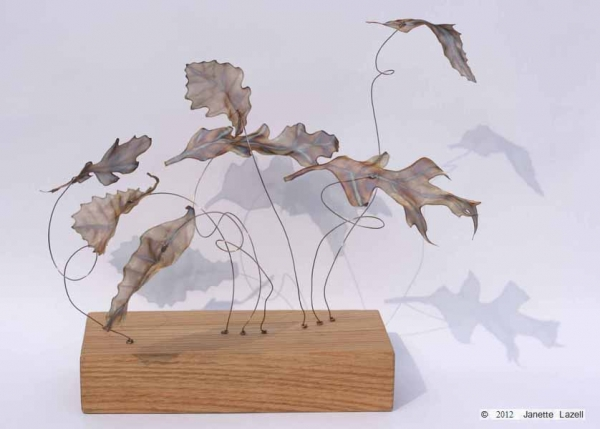 Oak leaves 7-collection - stainless steel woven wirecloth Oak leaves on copper wires set in Oak base