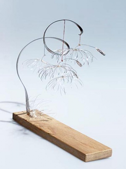 New Beginnings 5 -silver plated copper wire, stainless steel on Oak base - h 32 x w 34 x d 17cm